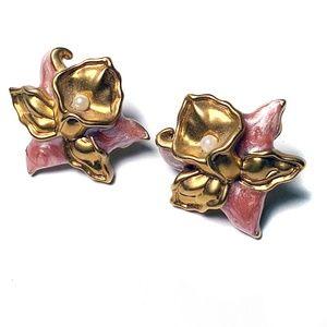 Avon Jewelry - Vintage Avon Gold Tone Precious Orchid Earrings
